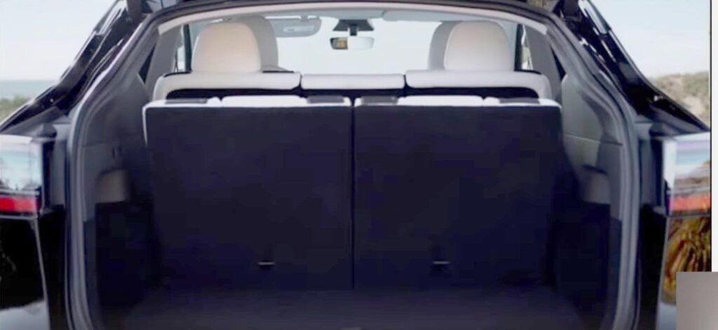 Tesla Model Y cargo volume while the 3rd-row seat is up.