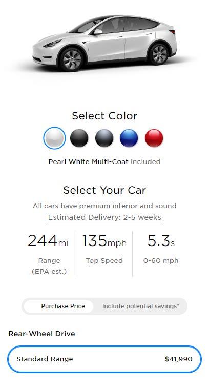 Tesla online configurator showing Tesla Model Y Standard Range price and options.