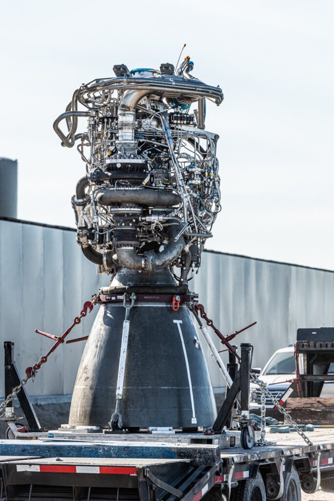 SpaceX Raptor SN44 engine being transported to the build site after removal from Starship SN9.