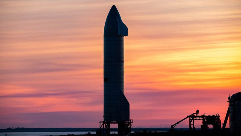 Starship SN9 looks majestic in sunset at the SpaceX Boca Chica Texas launch site.