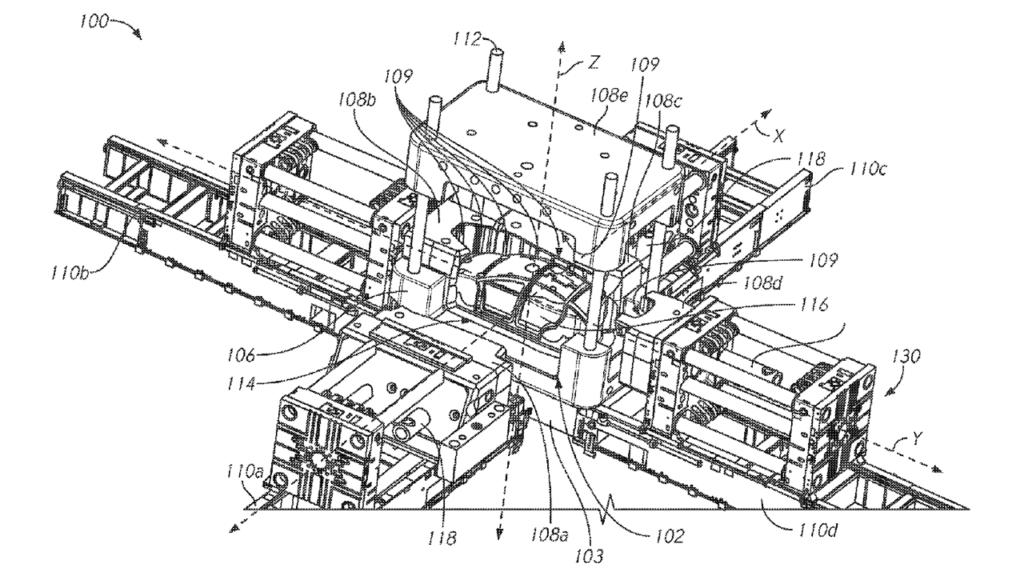 Tesla's concept of a giant unibody casting machine.