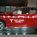 Tesla Model Y tested for crash safety by the NHTSA (rollover test in the picture, full video in the article).