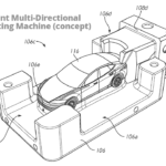 A concept blue-print of a mult-directional unibody casting matchine (patent filed by Tesla Inc.).