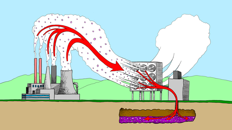 Illustration of Carbon Capture Storage from power plant emissions.