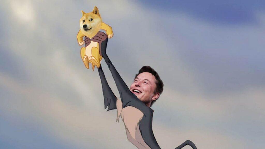 Elon Musk Dogecoin to the moon meme.