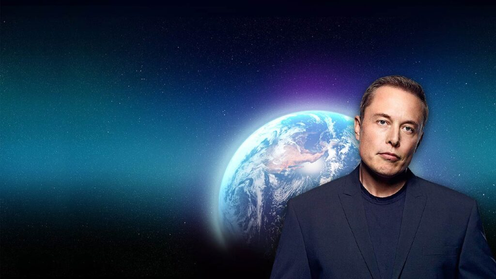 Elon Musk with planet Earth in the background.