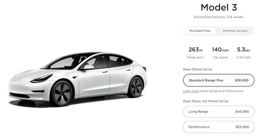 Tesla Model 3 Standard Range Plus and LR AWD get $1,000 price reduction.