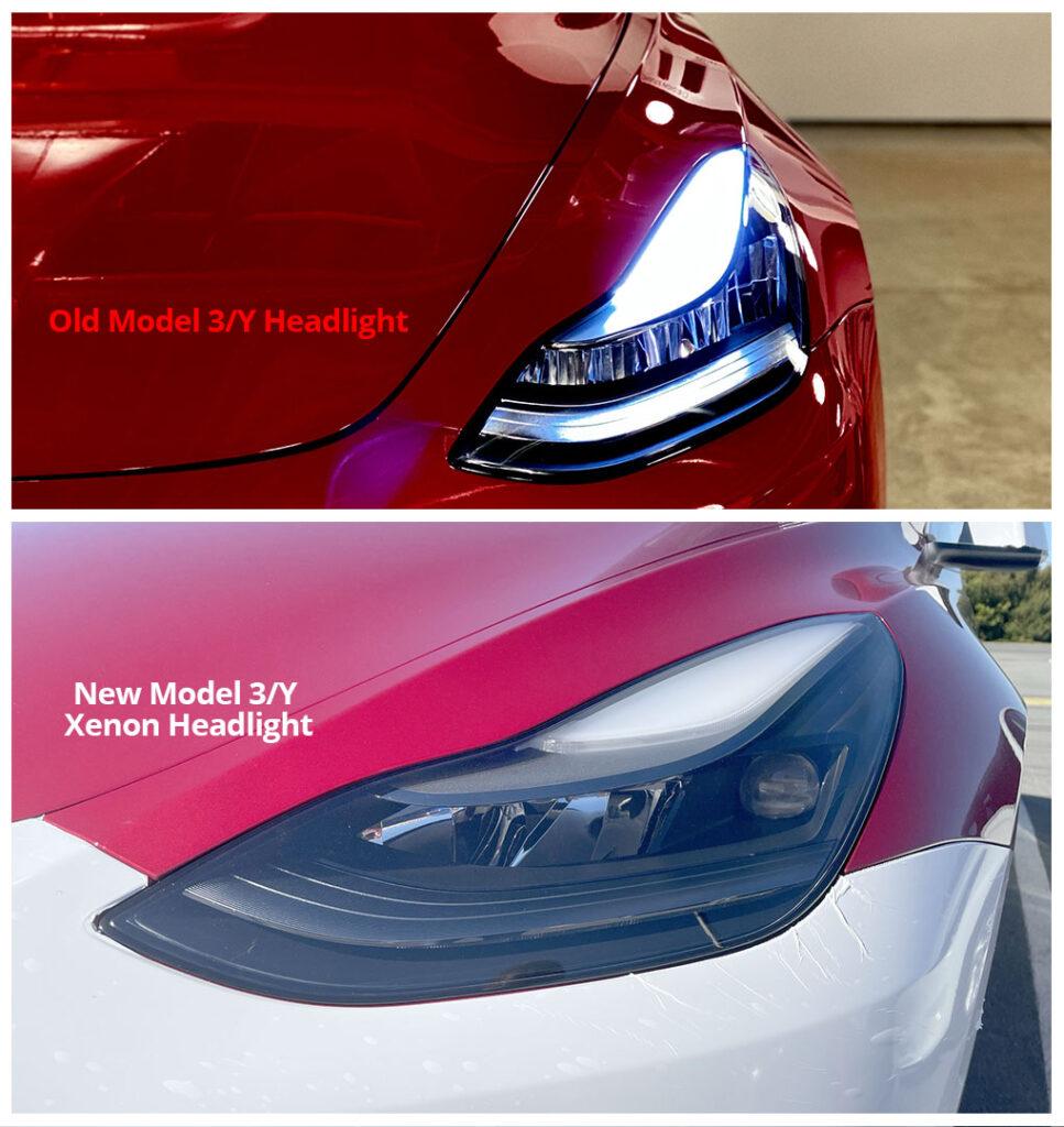 Visual comparison: New vs. the old Tesla Model 3/Y headlights.