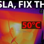 Telsa Model 3 footwell shows temperature of 50 ℃ (122 ℉) through a thermal camera.