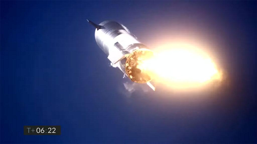 Starship SN9 prototype at T+ 6:22, just before blasting on landing.