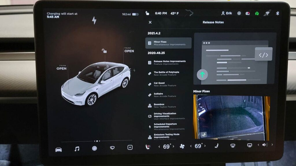 Tesla software update UI with the 2021.4.3 (V10.2) firmware update.