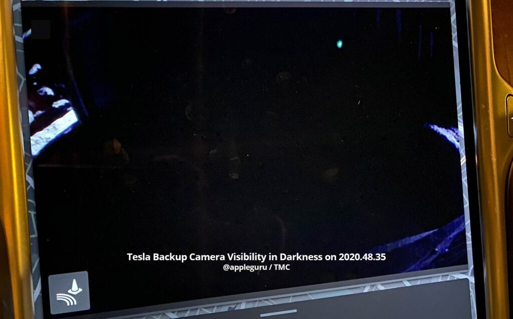 Tesla backup camera visibility in darkness on the firmware version 2020.48.35.