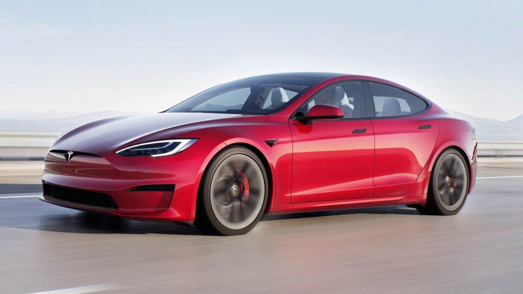 2021 Tesla Model S electric sedan in red color.