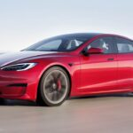 2021 Tesla Model S electric sedan in red color.