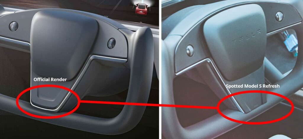 Difference of design between official Yoke steering render and the one spotted on a Model S refresh.