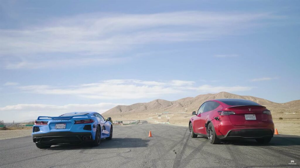 Tesla Model Y Performance vs. Chevrolet Corvette drag race duel (video in the article).