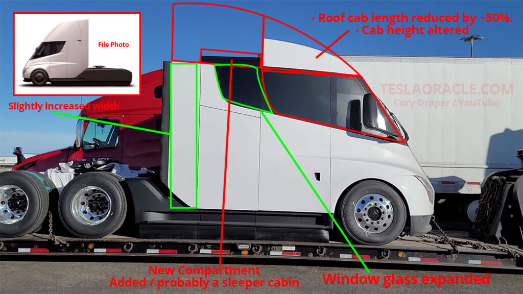Latest changes that Tesla has made to the Tesla Semi Truck's exterior (illustrated).
