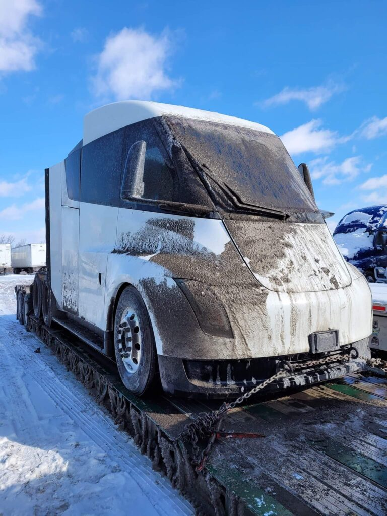 White Tesla Semi prototype covered in mud spotted in Chicago, IL.