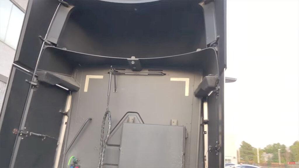 Rear space of an early Tesla Semi prototype.