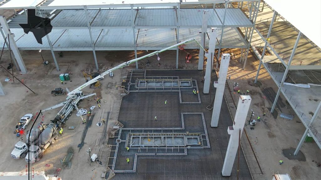 Foundations for the 8,000-ton Cybertruck Giga Casting machines at the Gigafactory Texas.