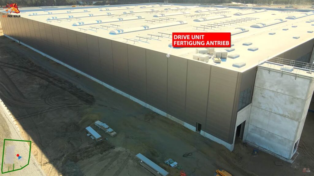 Aerial photo of the Tesla Gigafactory Berlin's drive unit building.