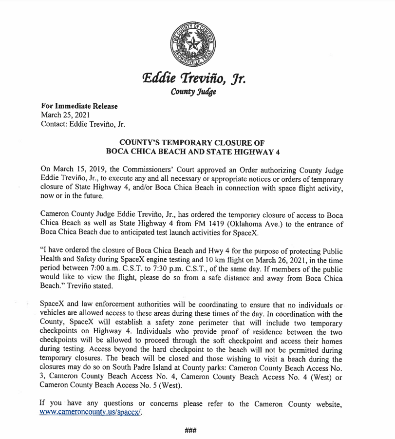 Cameron County judge orders closure of Boca Chica Beach and State Highway 4 (Boca Chica, Texas).