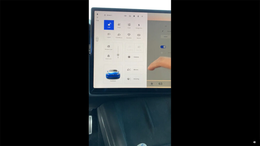 Tesla Model S refresh V11 UI on the center touchscreen display.