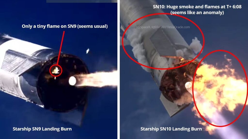Side-by-Side: Starship SN9 vs. SN10 landing burn. SN10 seems to have caught fire because of an anomaly.