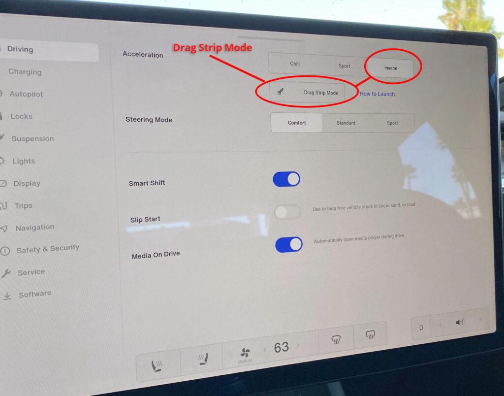 2021 Tesla Model S Plaid drive modes and drag strip mode.