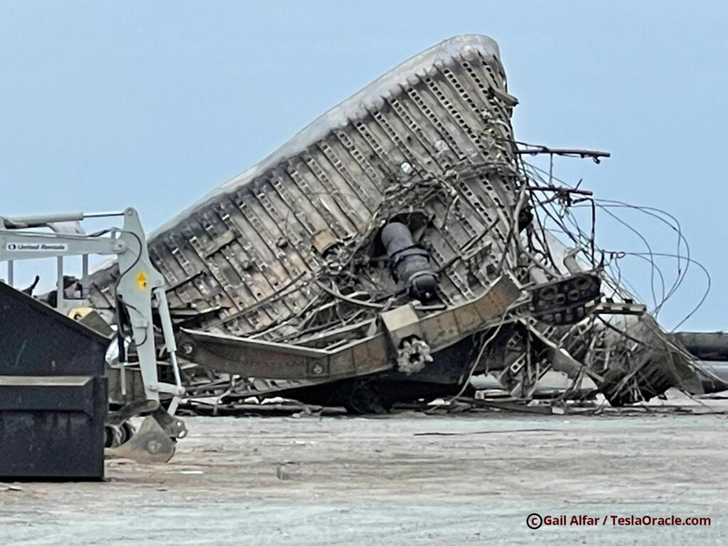 Wrecked Starship SN10 aft fin at the SpaceX Boca Chica Launch Facility.
