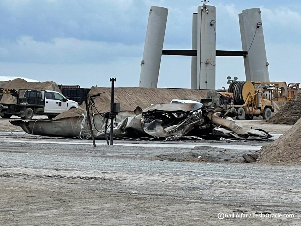 Starship SN10 debris at the SpaceX Boca Chica Launch Facility.