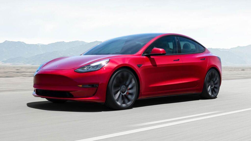 2021 Tesla Model 3 Performance in red color.