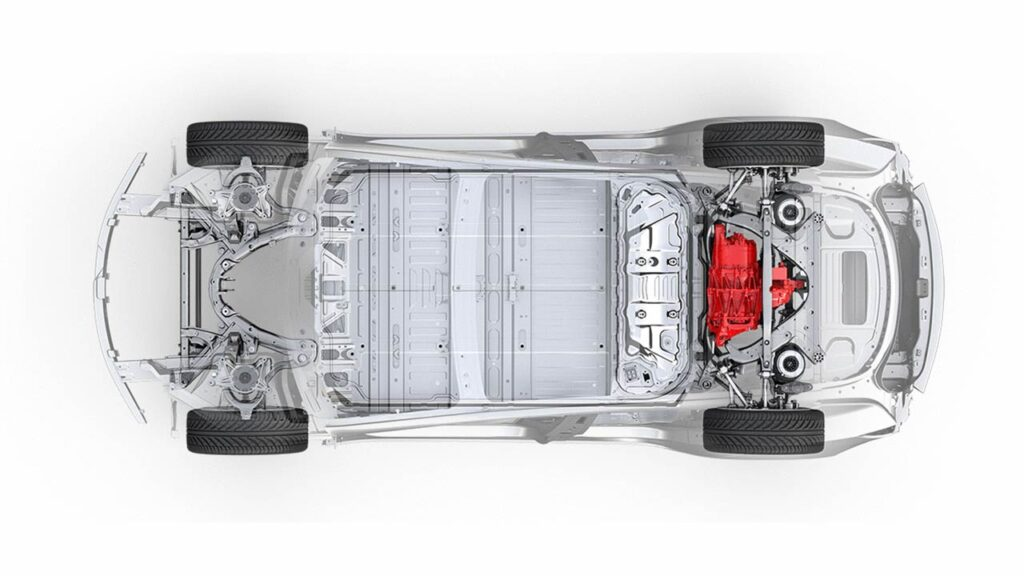 Tesla Model 3 single motor rear-wheel drive (RWD) chassis.