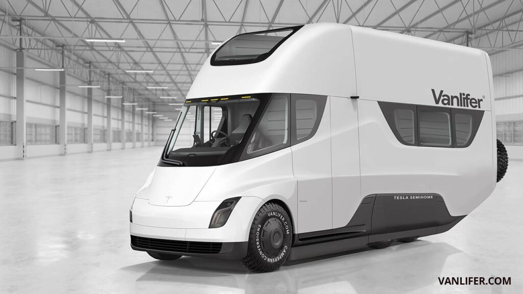 Electric RV concept design based on a Tesla Semi driver cabin and powertrain.
