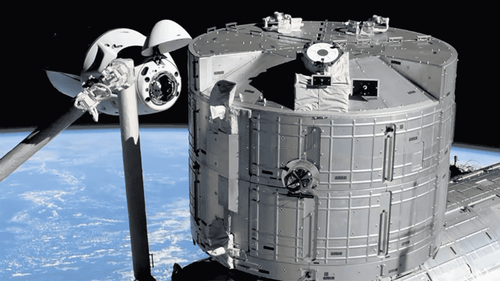 SpaceX Crew Dragon preparing to dock to the International Space Station.
