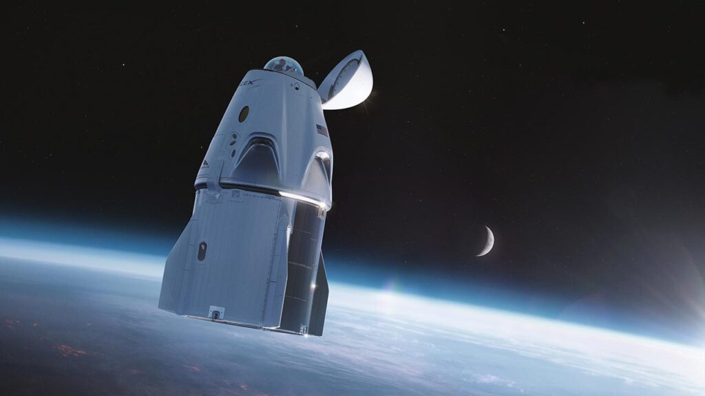 SpaceX Crew Dragon glass dome for space viewing.