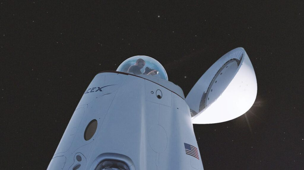 SpaceX Crew Dragon concept render showing a glass dome, a space observatory space.