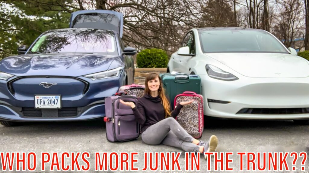 Tesla Model Y vs. Ford Mach-E luggage space comparison.