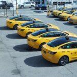 Fleet of 4 NYC Tesla Model 3 Yellow Cabs.