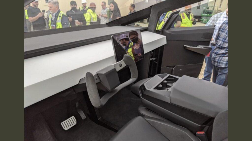 Tesla Cybertruck interior as seen on the prototype at the Gigafactory Austin, TX.