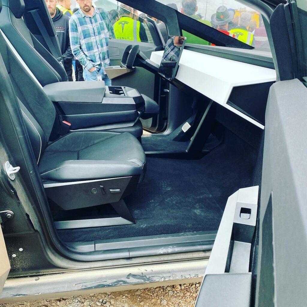 Tesla Cybertruck interior photo from the Giga Austin, TX spotting.