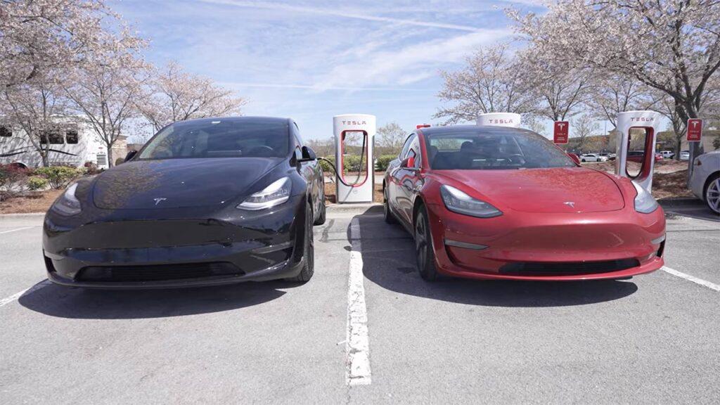 Tesla Model Y and Model 3 side-by-side.