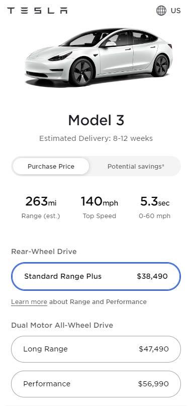 Tesla Model 3 prices as of April 13, 2021.