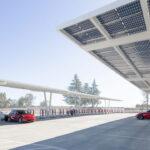 Tesla Supercharger station at Firebaugh, California.