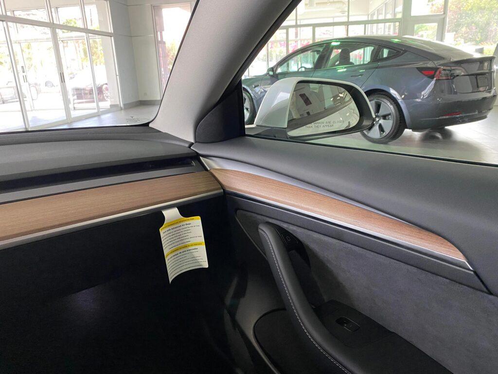 2021 Tesla Model 3 wooden door panel (passenger side front door).