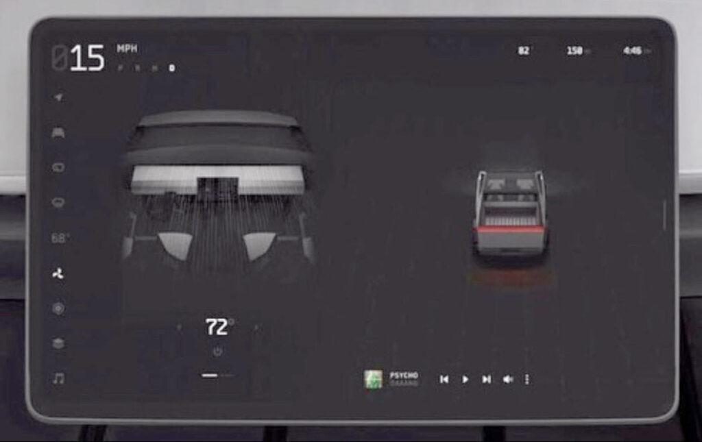Tesla Cybertruck center touchscreen UI.