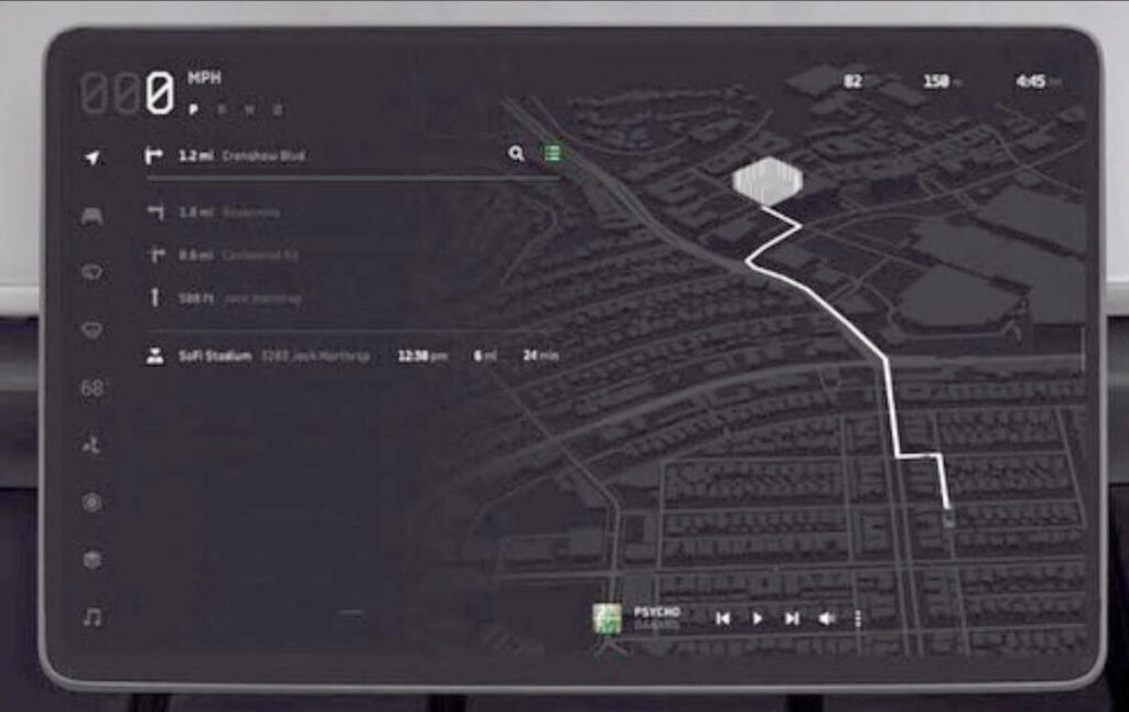 Preview of Cybertruck maps UI on the center touchscreen.