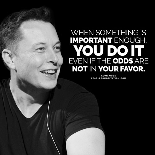 """Elon Musk quote: """"When something is important enough, you do it even if the odds are not in your favor."""""""