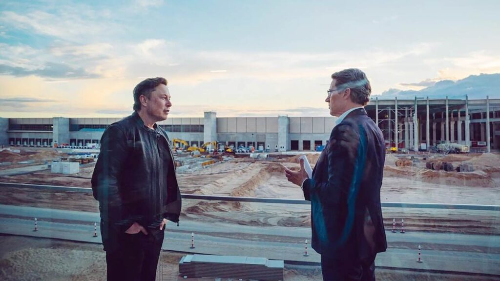 Elon Musk with German Minister for Transport & Digital Infrastructure Andreas Scheuer at the Tesla Gigafactory Berlin.