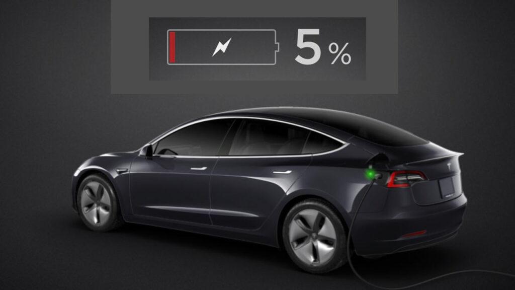 Tesla Model 3 battery at 5%.